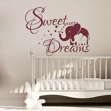 Elephant Wall Decals Sweet Dreams Vinyl Decal Sticker Nursery Bedroom Art MN511