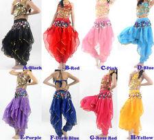 Belly Dance Costume Sets Top & Tribal Gold Wavy Harem Pants Skirt 8 Colors
