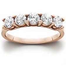 1 1/2Ct 5 Stone Round Cut Natural Diamond Ring 14K Rose Gold