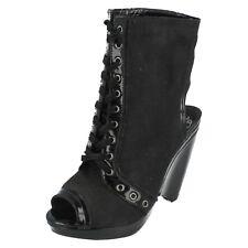 femmes FIRETRAP noir compensé bout ouvert chaussures Camouflage