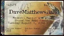 DAVE MATTHEWS BAND 8/1//2000 Tour Concert Ticket!!! Mountain View,CA SHORELINE