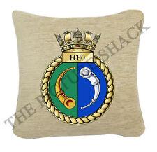 HMS ECHO Crest sur une Crème Coussin Chenille 2 tailles disponibles. Royal Navy