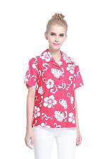 Women Ladies Aloha Shirt Blouse Cruise Luau Hawaiian Party Cotton Red Hibiscus