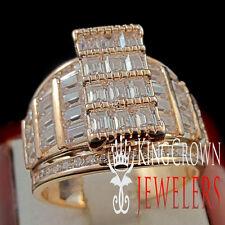 WOMENS LADIES PRINCESS CUT ROSE GOLD FINISH ENGAGEMENT BRIDAL WEDDING RING BAND