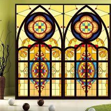 Static Cling Window Film Church Chapel Stained Glass Sticker Closet Decor Modern
