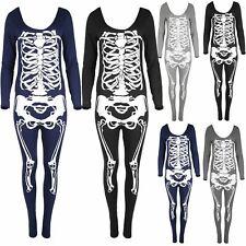 Women Ladies Skull Skeleton Jumpsuit Sexy Fancy Dress Halloween Costume Playsuit