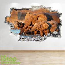 Adesivo Parete Elefante 3d Look-Camera da Letto Salotto Natura Animali adesivi murali z143