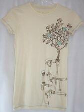 NEW Womens Juniors DAVID & GOLIATH Artsy Fartsy Birds In a Tree Tan T-Shirt