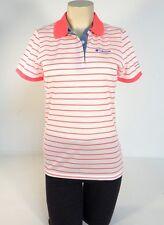 Columbia Sportswear Pink & White Mesh Short Sleeve Polo Shirt Women NWT