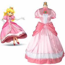 Princess Peach Plus Size Cosplay Costume Pink Punk Dress + Crown + Gloves【