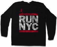 Run NYC da Uomo Manica lunga T-SHIRT NEW YORK CITY RUN Fun SHIRT DMC maratona Letters