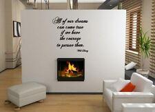 """JC Design """"tutti i nostri sogni possono avverarsi..."""" WALT DISNEY ADESIVO PARETE. NUOVO!"""