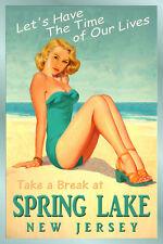 SPRING LAKE New Jersey Shore Travel Poster Atlantic Pin Up Girl Art Print 167