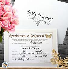 BAPTISM GODPARENT GODMOTHER GODFATHER certificate gift - Personalised
