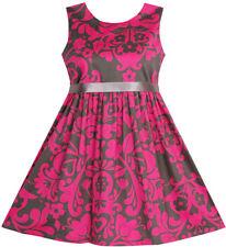 Sunny Fashion Girls Dress Sleeveless Elegant Pink Coffee Color Size 3-10
