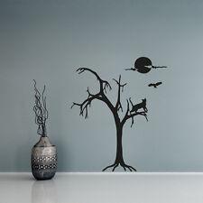 Wandtattoo Baum Nacht Mond Eule Katze Aufkleber Wall Art Wand Tattoo #2141