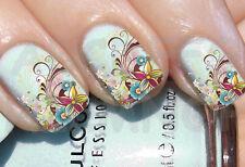 60x Nail ART agua Composición floral RAMA SWIRLINGS CALCOMANIA uñas STICKERs