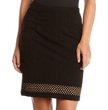 Karen Kane 4L61159 Black Stretch Knit w/Gold Studded Pencil Skirt - MSRP  $88