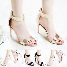 Sandalias De Mujer Damas Fiesta Tacón Alto Zapatos de noche por Stiletto y Correa en el tobillo