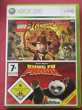 INDIANA JONES LEGO + KUNG FU PANDA - 2 Jeux XBOX 360 avec leur notice