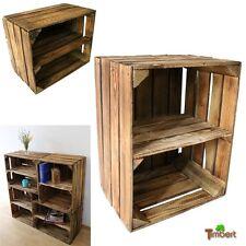 ALTE GEFLAMMTE OBSTKISTEN mit Zwischenbrett Vintage Holz Kisten Regal Schuhregal