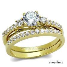 Beautiful Round Cut CZ 14k Gold Plated Wedding Ring Band Set Women's Size 5-10