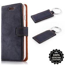 Premium Echtes Ledertasche Schutzhülle TPU Wallet Flip Case Nubuk - Farbe Blau