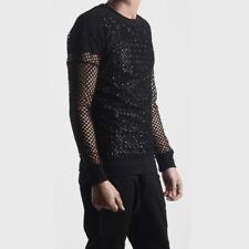Mens Long Sleeve Fishnet Mesh Sheer T-shirt Gothic Punk Stretchy Tee Shirt Black