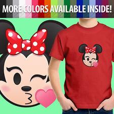 Minnie Mouse Kissy Face Blow Kiss Disney Emoji Unisex Kids Tee Youth T-Shirt