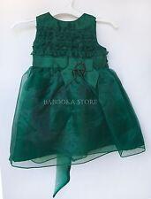Dorissa Baby Girls Green Boutique Style Dress, Girls Bow Christmas Dress 9m, 12m