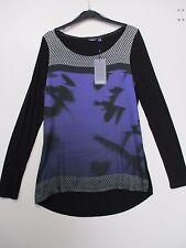 MEXX, Langarm Shirt / Bluse in Schwarz / Lila gemustert, Gr. M / L / XL NEU!!