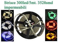 Strisce led 3528smd 5mt./300led impermeabili in vari colori DC 12V 24W