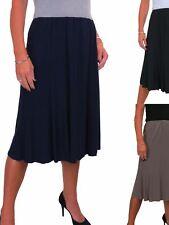 Womens Elasticated Fully Lined Swing Flare Skirt Soft Sheen 8-22