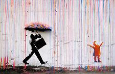 TIME4BILD BANKSY Coloured Rain Bunte Regen Loft BILDER LEINWAND ART GICLEE