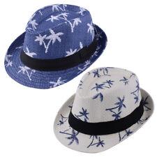 Unisex Summer Beach Straw Fedora Trilby Jazz Cap Coconut Tree Coneflower new