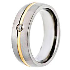 14K Gold Scrip Brush Domed Top Round Cubic Zirconia Titanium Men's Wedding Ring