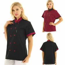 Unisex Men Women Hotel Kitchen Chef Jacket Uniform Short Sleeves Chef Coat