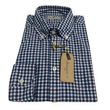 BRANCACCIO camicia uomo manica lunga quadri blu/azzurro 100% cotone vest comoda
