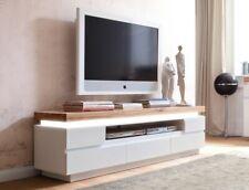 Lowboard 175x49x40 cm weiß Asteiche TV-Board TV-Möbel LED Beleuchtung Rosita