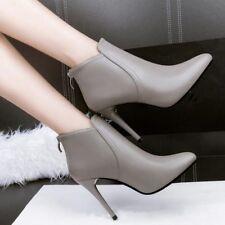 stivali stivaletti stiletto bassi grigio spillo eleganti 10 cm simil pelle 8002