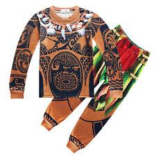 Moana Maui Tattoo T Shirt Pants Kids Boys Cosplay Costume Halloween Pyjamas Set
