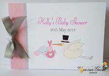 PERSONALISED STORK - BABY SHOWER GUEST BOOK - MESSAGE / MEMORY BOOK KEEPSAKE