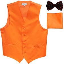 New Men's Vest Tuxedo Waistcoat Orange Polka Dots Bowtie & Solid Hankie set