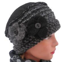Cappello da Donna Caldo Berretto di Lana Grigio Nero Stoffa Mista 2e18dd4db138