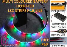 Multicolore RGB LED striscia luci 9V PP3 PILE scelta dei connettori