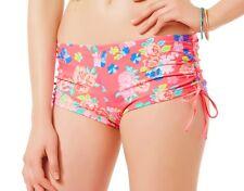 Bongo Coral Floral Side Tie Ruched Boyshort Bikini Bottom Swimwear Juniors Large