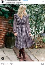 H&M Asymmetric Hem Frills flounce Dark Purple Midi Floral Dress sz 4 6 8 10 12