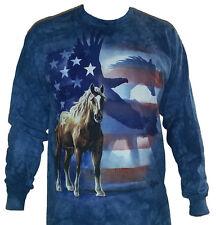 The Mountain Wild Star Flag Patriotic USA Horse Eagle Long Sleeve Shirt