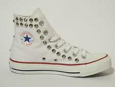 Converse all star Hi borchie scarpe donna uomo bianco optical white artigianali