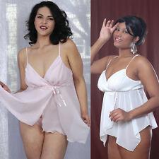 Plus Size Lingerie Sizes 1X 2X 3X  White or Pink Georgette Babydoll    VX5179X